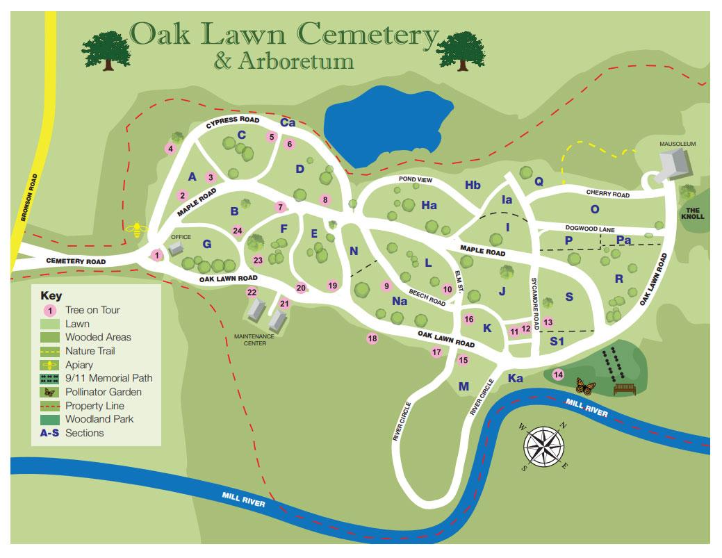 Cemetery Map Oak Lawn Cemetery Arboretum Serving Fairfield County